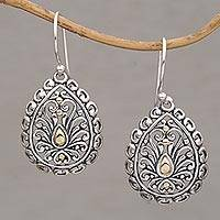 Gold-accented sterling silver dangle earrings Everlasting Memory (Indonesia)