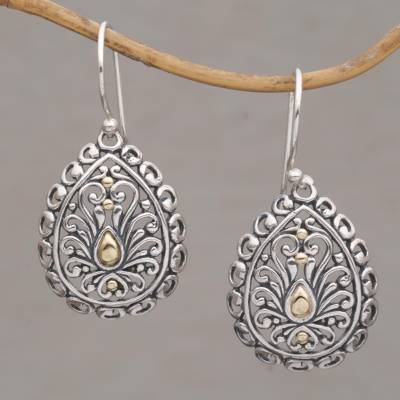 Gold-accented sterling silver dangle earrings, 'Everlasting Memory' - Handmade 18k Gold Plated 925 Sterling Silver Earrings