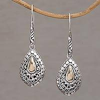 Gold-accented sterling silver dangle earrings Teardrop Dew (Indonesia)