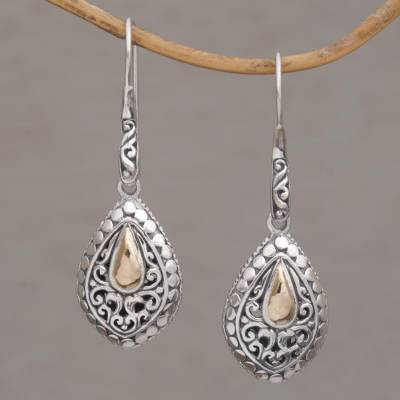 Gold-accented sterling silver dangle earrings, 'Teardrop Dew' - Hand Crafted Sterling Silver and 18K Gold Plated Earrings