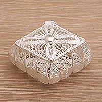 Sterling silver decorative box, 'Kept Blessing' - Handmade Sterling Silver Filigree Decorative Box from Bali