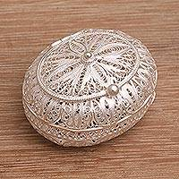 Sterling silver decorative box, 'Keepsake' - Sterling Silver Filigree Decorative Box from Bali