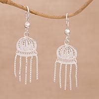 Sterling silver filigree chandelier earrings,