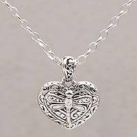 Sterling silver pendant necklace, 'Lovely You' - Sterling Silver Heart Dragonfly Pendant Necklace