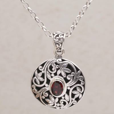 Garnet pendant necklace, Floral Eye in Red