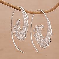 Sterling silver filigree half-hoop earrings,