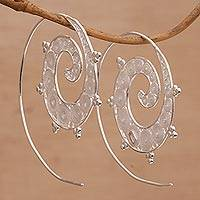 Sterling silver filigree half-hoop earrings, 'Infinite Spirals' - Spiral Sterling Silver Filigree Half-Hoop Earrings from Bali