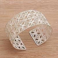 Sterling silver filigree cuff bracelet, 'Song of Java' - Javanese Handcrafted Sterling Silver Filigree Cuff Bracelet