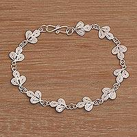 Sterling silver filigree link bracelet, 'Landscape of Java' - Sterling Silver Filigree Link Bracelet with Leaf Motif