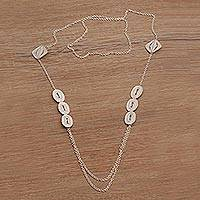 Sterling silver filigree station necklace,