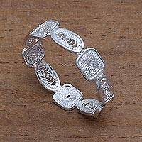 Sterling silver filigree band ring, 'Loving Shapes' - Handcrafted Sterling Silver Filigree Band Ring from Bali