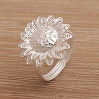 Sterling silver filigree wrap ring, 'Fields of Sun' - Javanese Sterling Silver Wrap Ring with Sunflower Motif