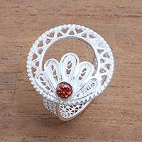 Quartz filigree cocktail ring, 'Indonesian Peacock' - Clear Quartz Sterling Silver Filigree Ring from Indonesia