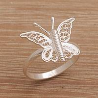 Sterling silver filigree cocktail ring, 'Butterfly View' - Indonesian Handmade Sterling Silver Butterfly Cocktail Ring