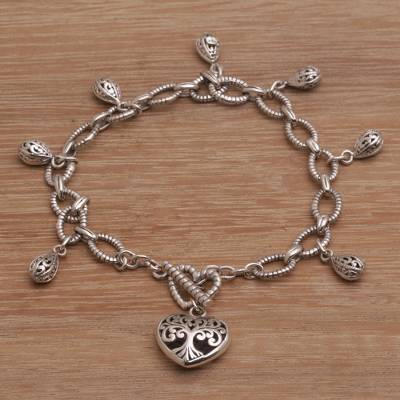 Sterling silver charm bracelet, 'Spread The Love' - Sterling Silver Heart and Drop Openwork Charm Bracelet