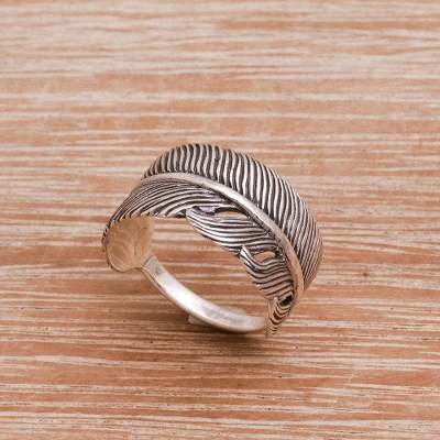 Sterling silver band ring, 'Focused Feather' - Handmade 925 Sterling Silver Feather Cocktail Ring