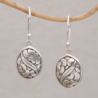 Sterling silver dangle earrings 'Pebbles & Leaf' - Handmade 925 Sterling Silver Oval Earrings Indonesia
