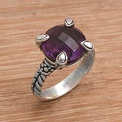Amethyst cocktail ring, 'Garden Bliss' - Handmade 925 Sterling Silver Amethyst Cocktail Ring
