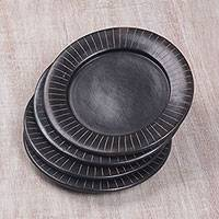 Terracotta luncheon plates, 'Radiate' (set of 4) - Handcrafted Black Luncheon Plates Etched Rims (Set of 4)