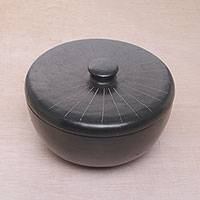 Ceramic lidded serving bowl, 'Lombok Path' - Indonesian Hand Crafted Black Terracotta Ceramic Lidded Bowl