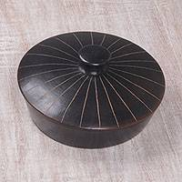 Ceramic lidded appetizer dish, 'Lombok Night' - Handmade Black Terracotta Ceramic Lidded Appetizer Platter