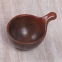 Ceramic condiment bowl, 'Mataram Spice' - Handcrafted Ceramic 5-Oz Condiment Bowl from Lombok Island