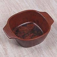 Ceramic serving bowl, 'Antique Mataram' - Red Ceramic Serving Bowl from Indonesia