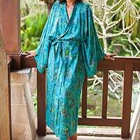 Rayon batik robe, 'Ocean Eden' - Turquoise Batik Long Sleeved Rayon Robe with Belt