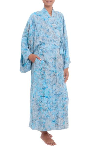 Green and Blue Batik Print Long Sleeved Rayon Robe with Belt