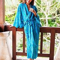 Rayon batik robe, 'Floral Breeze' - Blue and Green Batik Print Long Sleeved Rayon Robe with Belt