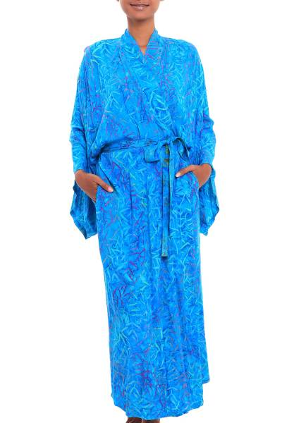 Blue and Green Batik Print Long Sleeved Rayon Robe with Belt