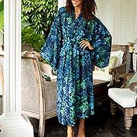 Batik rayon robe, 'Bedugul Dusk' - Navy and Green Batik Print Long Sleeved Rayon Robe with Belt