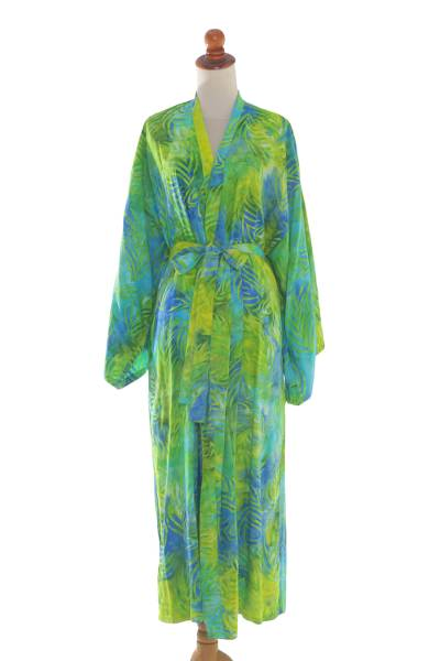 Blue and Green Rayon Batik Leafy Garden Long Sleeved Robe