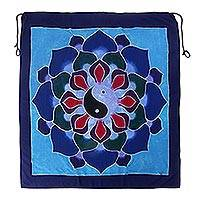Batik rayon wall hanging, 'Duality Petals' - Batik Rayon Wall Hanging with Yin Yang Flower from Bali