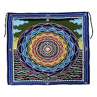 Batik rayon wall hanging, 'Psychedelic Petals' - Batik Rayon Wall Hanging with Colorful Floral Motif