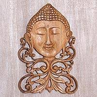 Wood wall relief panel, 'Buddha Bouquet' - Balinese Suar Wood Buddha Wall Relief Panel