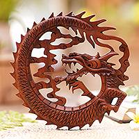 Wood relief panel, 'Dragon in the Air' - Hand Carved Balinese Dragon Suar Wood Wall Relief Panel