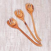 Wood salad servers, 'Triple Taste' (set of 3) - Set of Three Hand-Carved Sawo Wood Kitchen Serving Spoons
