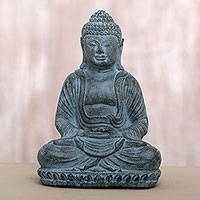 Cast stone sculpture, 'Serene Meditation' - Artisan Crafted Meditating Buddha Cast Stone Sculpture