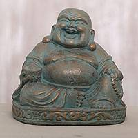 Cast stone sculpture, 'Lighthearted Buddha' - Artisan Crafted Laughing Buddha Cast Stone Sculpture