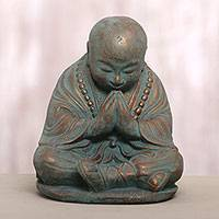 Cast stone sculpture, 'Shaolin Meditation' - Cast Stone Praying Shaolin Monk Sculpture in Antique Finish