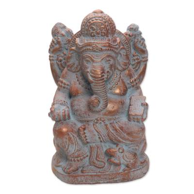 Cast stone statuette, 'Ganesha Guardian' - Hand Made Cast Stone Statuette of Hindu Deity Ganesha