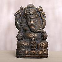 Cast stone sculpture, 'Lord of Fortune' - Artisan Crafted Lord Ganesha Cast Stone Sculpture