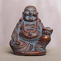 Cast stone statuette, 'Happy Buddha' - Hand Made Cast Stone Statuette of Laughing Buddha