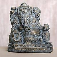 Cast stone sculpture, 'Resting Ganesha' - Hand Carved Stone Resting Ganesha in Antique Bronze