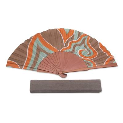 Handcrafted Patterned Batik Silk and Pinewood Fan from Bali