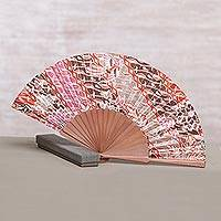 Silk batik fan, 'Nature of Parang' - Handcrafted Printed Batik Silk and Pinewood Fan from Bali
