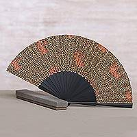 Silk batik fan, 'Eternal Maze' - Handcrafted Printed Batik Silk and Pinewood Fan from Bali