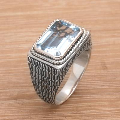 Blue topaz cocktail ring, 'Bedeg Sky' - Rectangular Blue Topaz Cocktail Ring from Bali