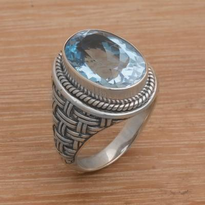 Oval Blue Topaz Cocktail Ring from Bali